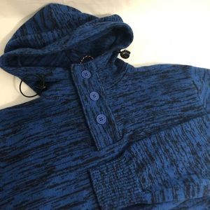 Brave Soul Hoodie Sweater L Blue Black Hood L/S